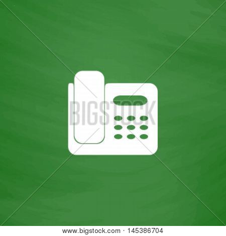 Office Phone Simple line vector button. Imitation draw with white chalk on blackboard. Flat Pictogram and School board background. Outine illustration icon