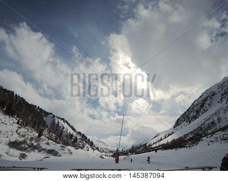 Ischgl, Austria, February 28, 2014: View from the Bistro Gampen (Ischgl, Austria) towards the Heidelberger Hut (Samnaun, Switzerland).