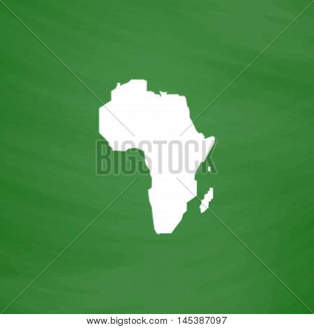 Africa Simple line vector button. Imitation draw with white chalk on blackboard. Flat Pictogram and School board background. Outine illustration icon
