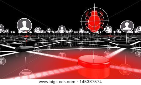 Dark network with glowing red node targeting a bug information security 3D illustration