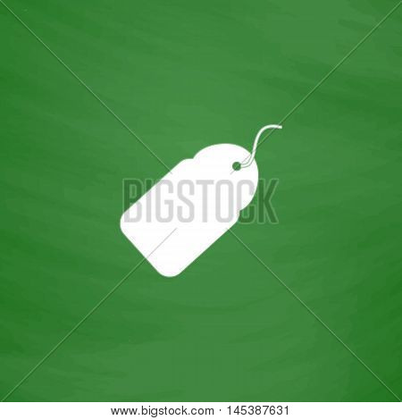 Tag Simple line vector button. Imitation draw with white chalk on blackboard. Flat Pictogram and School board background. Outine illustration icon
