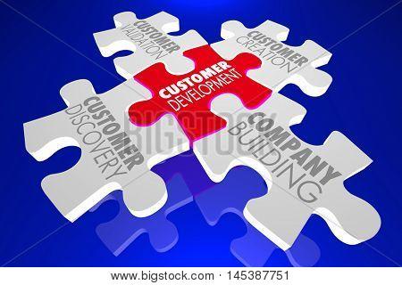 Customer Development Four Principles Puzzle 3d Illustration