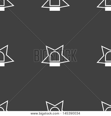 Police Single Icon Sign. Seamless Pattern On A Gray Background. Vector