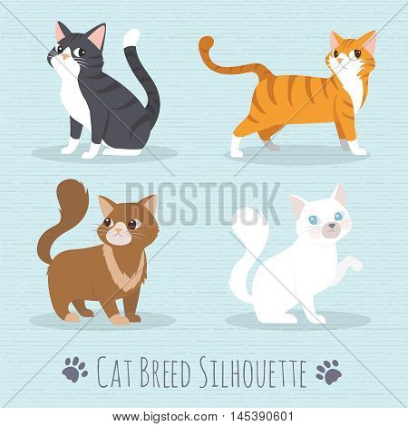 Cat Set with white cat grey cat orange cat brown cat Cute cats flat icons. Vector Illustration Cartoon