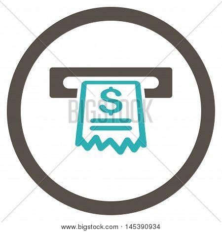 Cashier Receipt rounded icon. Vector illustration style is flat iconic bicolor symbol, grey and cyan colors, white background.