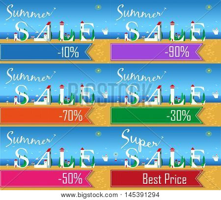 Cards with texts for retail. Artistic font. Summer beach. Buildings on the coast. Plane in the sky. Summer sale. Colorful banners for custom text. Vector illustration