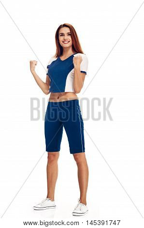 Cheerfully smiling woman doing exercise, full length isolated on white background
