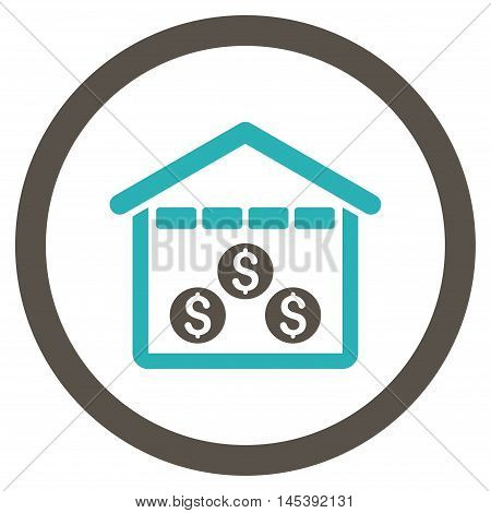 Money Depository rounded icon. Vector illustration style is flat iconic bicolor symbol, grey and cyan colors, white background.