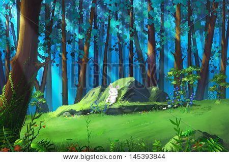 A Small White Rabbit Resting in the Mysterious Woodland. Video Game's Digital CG Artwork, Concept Illustration, Realistic Cartoon Style Background