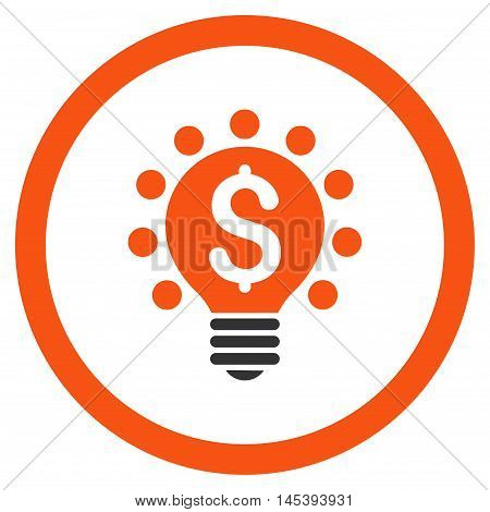 Business Patent Bulb rounded icon. Vector illustration style is flat iconic bicolor symbol, orange and gray colors, white background.