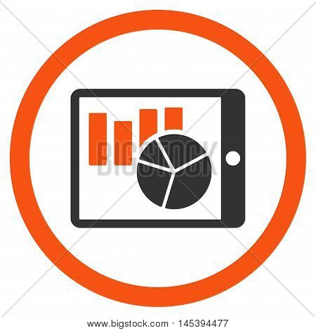 Charts on Pda rounded icon. Vector illustration style is flat iconic bicolor symbol, orange and gray colors, white background.