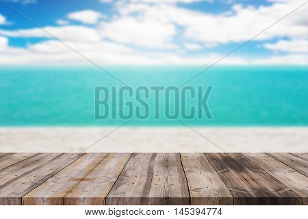 Wood Table Top On Blurred Blue Sea And White Sand Beach Background - Can Be Used For Display Or Mont