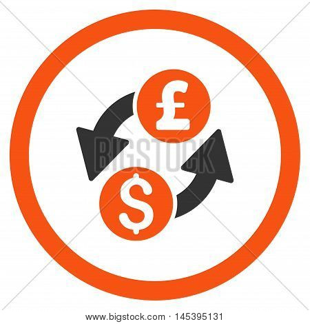 Dollar Pound Exchange rounded icon. Vector illustration style is flat iconic bicolor symbol, orange and gray colors, white background.