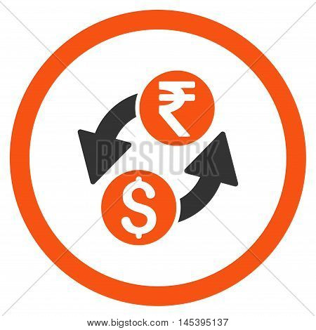 Dollar Rupee Exchange rounded icon. Vector illustration style is flat iconic bicolor symbol, orange and gray colors, white background.