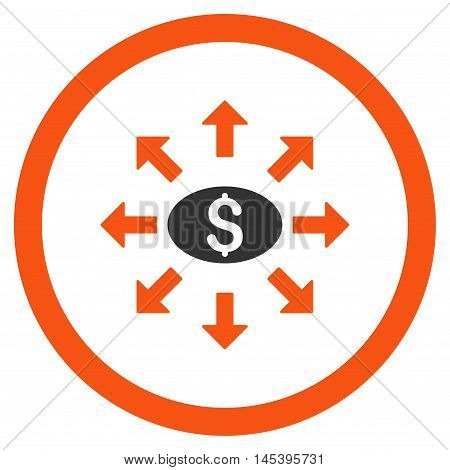 Mass Cashout rounded icon. Vector illustration style is flat iconic bicolor symbol, orange and gray colors, white background.