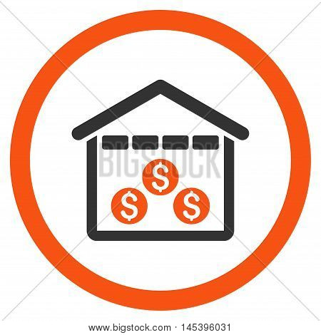 Money Depository rounded icon. Vector illustration style is flat iconic bicolor symbol, orange and gray colors, white background.