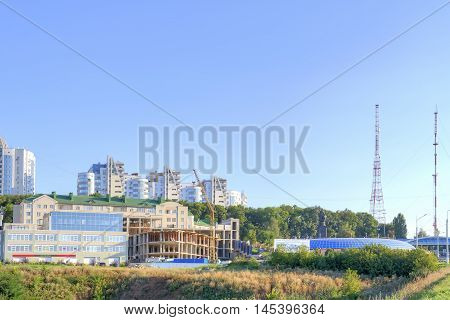 BELGOROD RUSSIA - August 30.2016: Televisional tower and new building of dwelling-houses on the Kharkov mountain