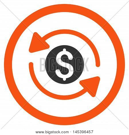 Money Turnover rounded icon. Vector illustration style is flat iconic bicolor symbol, orange and gray colors, white background.