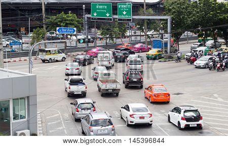 Heavy Trafic Junction Of Bangkok