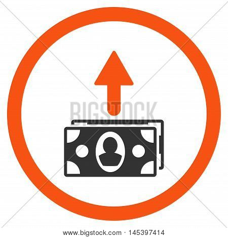 Spend Banknotes rounded icon. Vector illustration style is flat iconic bicolor symbol, orange and gray colors, white background.