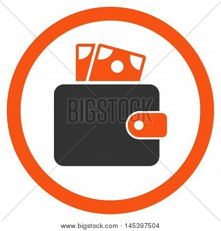 Wallet rounded icon. Vector illustration style is flat iconic bicolor symbol, orange and gray colors, white background.