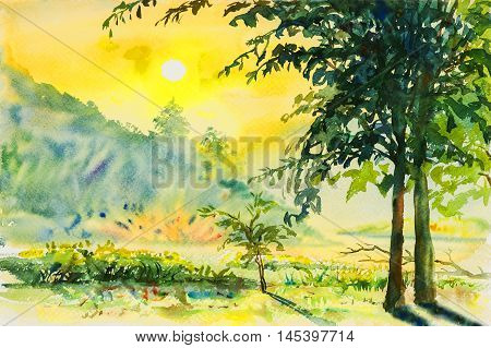 Watercolor landscape painting colorful of mountain and emotion in sunrise background .Original painting