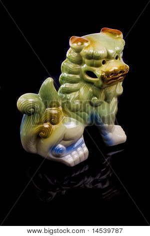 Traditional Chinese ceramic lion sculpture