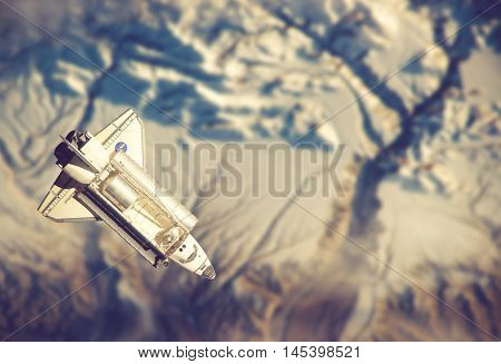 Space Shuttle Orbiting The Earth. Elements Of This Image Furnished By Nasa.vintage Color