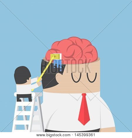 Businessman Wash And Clean The Brain Of His Colleague