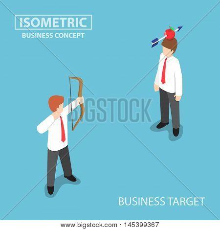 Isometric Businessman Shoot An Apple On Colleague Head