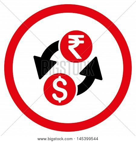 Dollar Rupee Exchange rounded icon. Vector illustration style is flat iconic bicolor symbol, intensive red and black colors, white background.