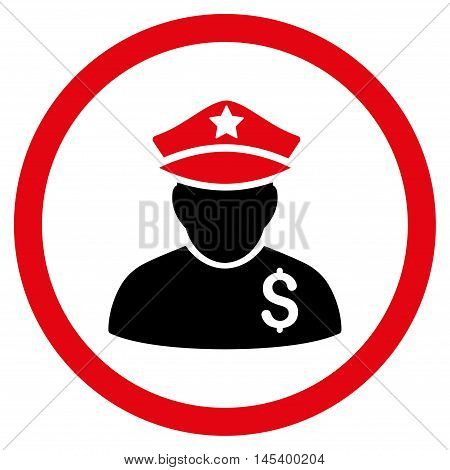 Financial Policeman rounded icon. Vector illustration style is flat iconic bicolor symbol, intensive red and black colors, white background.