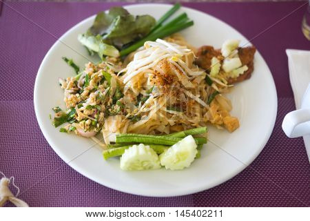 Many Thai food buffet in luxury restaurant with meat rice and vegetables