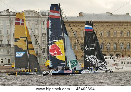 03.09.2016.Russia.Saint-Petersburg.International competition of athletes in racing catamarans in the waters of the Neva.