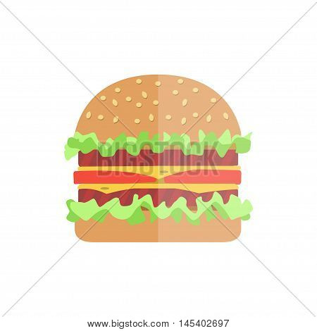 Hamburger With Meat, Lettuce And Cheese.