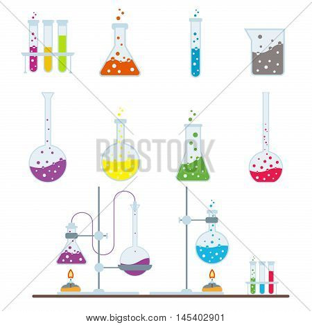 Chemistry experiment research test science glass lab flask. Chemical laboratory vector lab flask glassware tube liquid biotechnology analysis. Set of lab flask tubes medical scientific equipment.