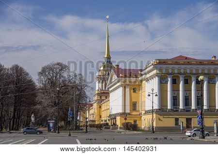 View Of Admiralty Building In Saint Petersburg From Palace (dvortsovaya) Square, Russia.
