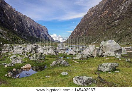 Mountain Valley And River. Huascaran National Park, Cordillera Blanca - Santa Cruz Circuit Trekking.