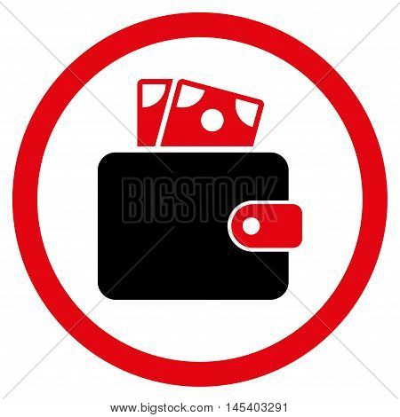 Wallet rounded icon. Vector illustration style is flat iconic bicolor symbol, intensive red and black colors, white background.