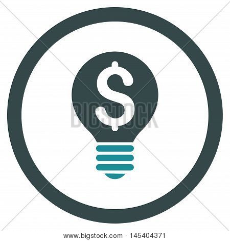 Business Patent Bulb rounded icon. Vector illustration style is flat iconic bicolor symbol, soft blue colors, white background.