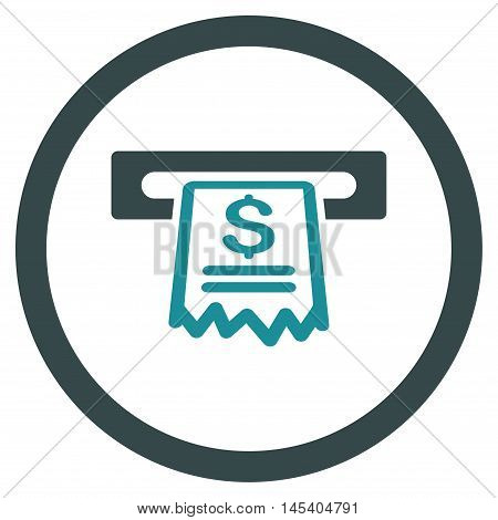 Cashier Receipt rounded icon. Vector illustration style is flat iconic bicolor symbol, soft blue colors, white background.