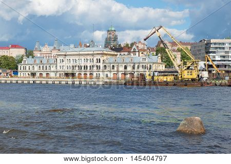 VYBORG, RUSSIA - AUGUST 08, 2016: View of the Administrative building of the port of the cloud day in august.  The main landmark of the city Vyborg