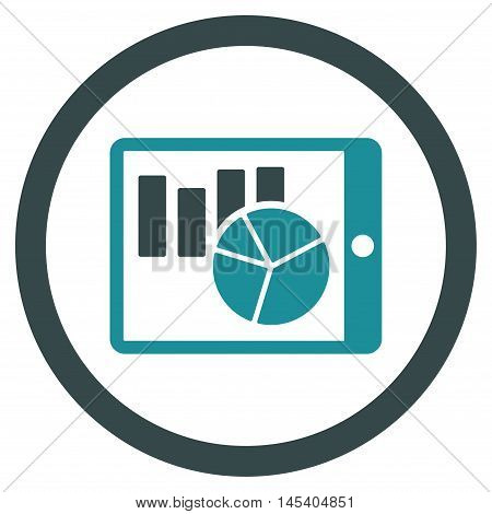 Charts on Pda rounded icon. Vector illustration style is flat iconic bicolor symbol, soft blue colors, white background.