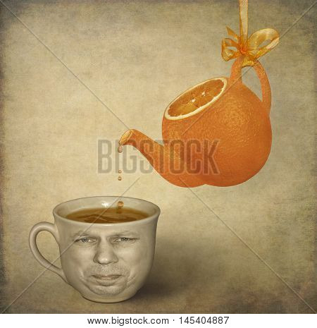 There is a cup with a natural orange sour juice and a face on its side. A teapot is like an orange.