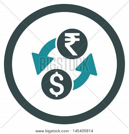 Dollar Rupee Exchange rounded icon. Vector illustration style is flat iconic bicolor symbol, soft blue colors, white background.