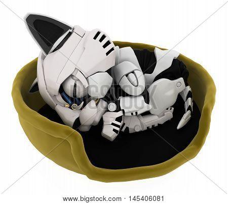 Robotic kitten sleeping in basket 3d illustration horizontal isolated