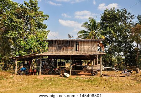 Thai farmer house in countryside in North Eastern of Thailand