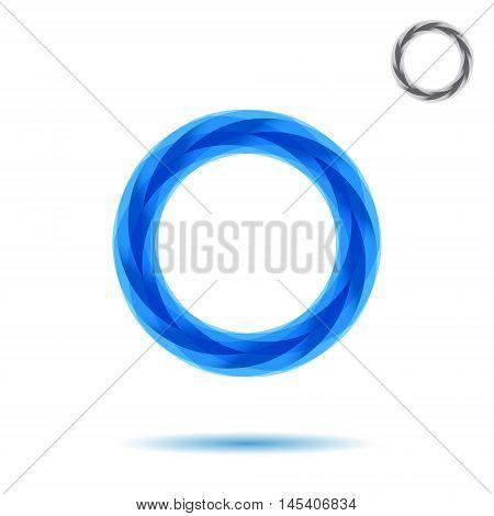 Mosaic segmented circle o letter logo 2d vector sign eps 10