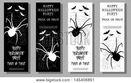 Set of Halloween ticket on holiday party with scary spider and monster bats isolated on gray background. Cartoon style. Vector illustration