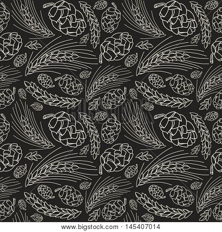 Malt and cone hop seamless pattern. Ingredients for brewing beer. White print on black background